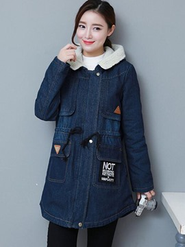Ericdress Loose Fleece Hooded Denim Outerwear