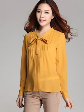 Ericdress Tie Bow Front Ladies Blouse