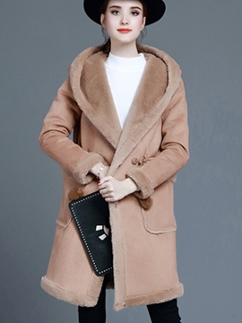 Ericdress Solid Color Fleece Hooded Thick Coat