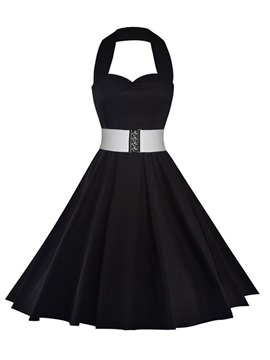 Ericdress Halter Belt Sleeveless Pleated Casual Dress