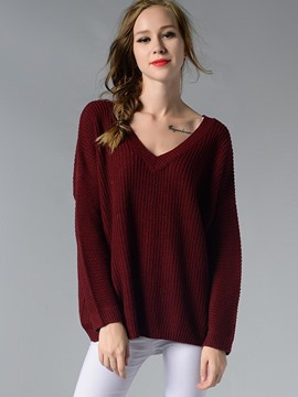 Ericdress V-Neck Backless Loose Knitwear