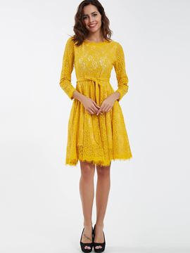 Ericdress Sweet Round Neck A-Line Lace Dress