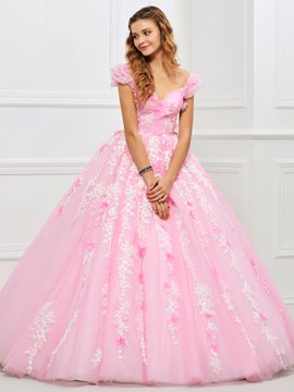 Ericdress Sweet Off The Shoulder Applique Ball Quinceanera Gown