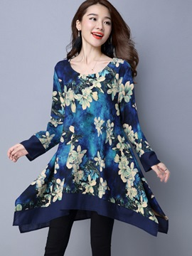 Ericdress Hand Painted Plant Print Asymmetrical Patchwork Casual Dress