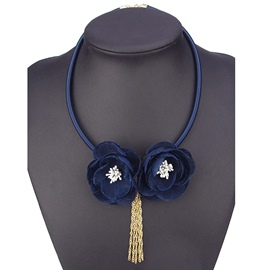 Ericdress Two Blue Flowers with Tassels Necklace