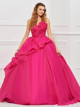 Ericdress Strapless Organza Satin Lace-Up Back Floor Length Ball Quinceanera Gown