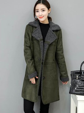 Ericdress Straight Color Block Plus Size Coat