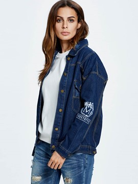 Ericdress Letters Printed Loose Denim Outerwear