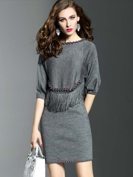 Ericdress Tassel Bead Sweater Bodycon Suit