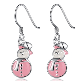 Ericdress Pink Snowman Pendant Earrings