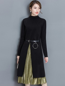 Ericdress Asymmetric Pleated Long Sleeve Dress Suit