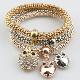 Ericdress Diamante Owl Pendant Multilayer Alloy Bracelet