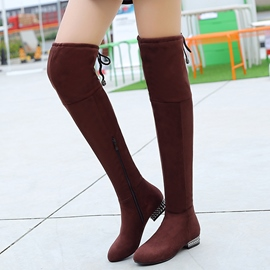 Ericdress Suede Side Zipper Over The Knee Boots