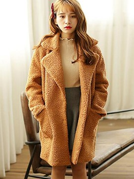 Ericdress Loose Fleece Polo Coat