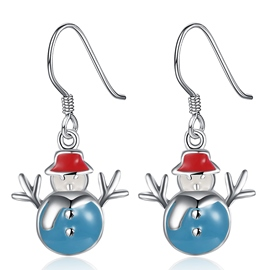 Ericdress Lovely Blue Snowman Earrings