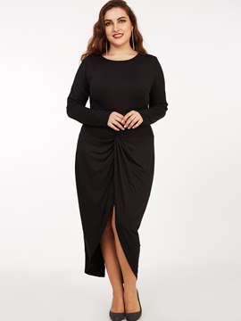 Ericdress Plus-Size Stacked Pleated Split Sheath Dress