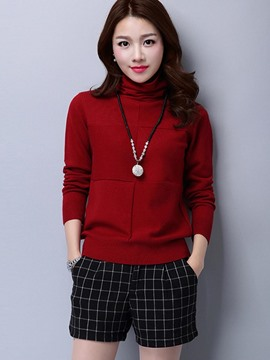 Ericdress Turtle Neck Plain Pocket Knitwear