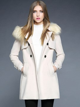 Ericdress Straight Double-Breasted Faux Fur Collar Plain Coat