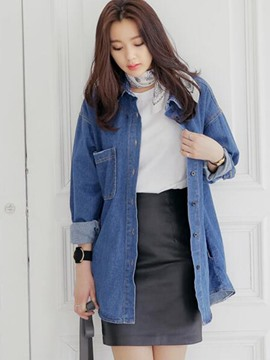 Ericdress Loose Single-Breasted Plain Denim Outerwear