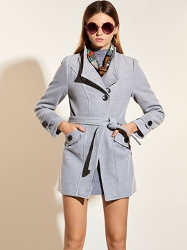 Ericdress Solid Color Slim Asymmetric Buttons Coat