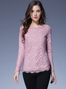 Ericdress Lace Floral Crochet Blouse