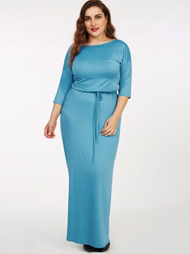 Ericdress Plus-Size Round Collar Lace-Up Casual Dress