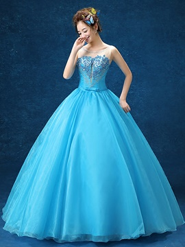 Ericdress Scoop Neck Beading Embroidery Ball Gown Quinceanera Dress