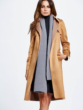 Ericdress Solid Color Slim Lace-Up European Trench Coat