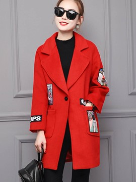 Ericdress Slim One-Button Printed Coat