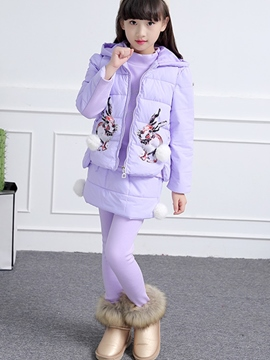 Ericdress Rabbit Print Vest Pants 3-Pcs Thickening Girls Outfit