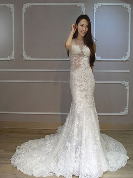 Ericdress Sexy Jewel Appliques Mermaid Lace Wedding Dress