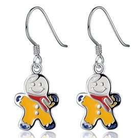 Ericdress Yellow Snowman Pendant Earrings