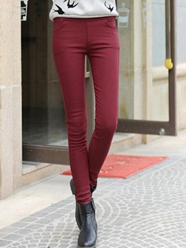Ericdress Solid Color Patchwork Thick Leggings Pants