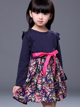 Ericdress Floral Print Patchwork Bow Girls Dress