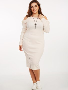 Ericdress Platinum Plated Patchwork Zipper Sheath Dress