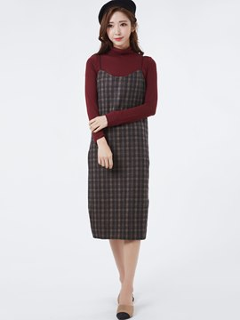 Ericdress Turtleneck T-shirt Plaid Day Dress Suit