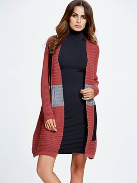Ericdress Color Block Cardigan Daily Knitwear