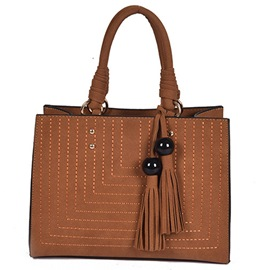 Ericdress Vintage Bold Thread PU Handbag