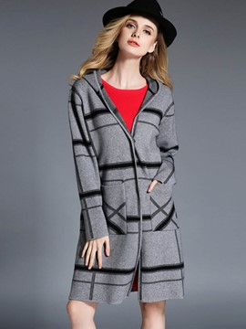 Ericdress European Loose Plaid Hooded Coat