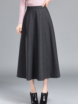 Ericdress Plain Color Pleated A-Line Usual Skirt