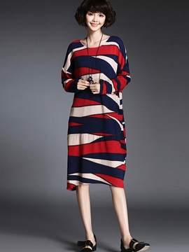 Ericdress Strip Colorful Patchwork Loose Casual Dress