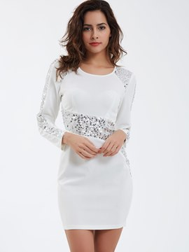 Ericdress Sexy Round Neck Sequins Bodycon Dress