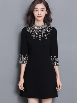 Ericdress Bead Diamond Patchwork Platinum Plated Casual Dress