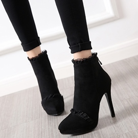 Ericdress Suede Lace Patchwoek High Heel Boots