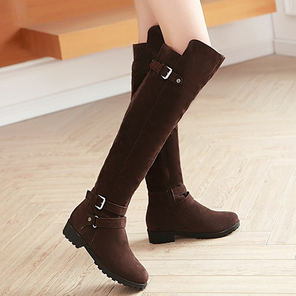 ericdress chic suede buckles thigh high boots 12674206