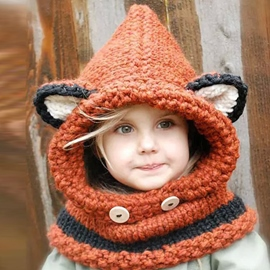 Ericdress Cute Fox Ear Decorated Kid's Knitted Hat
