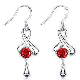 Ericdress Red Zircon Inlaid Silver Plated Earrings