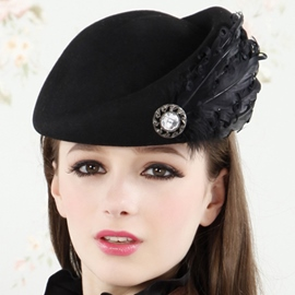 Ericdress Feather Decorated Wool Beret Hat