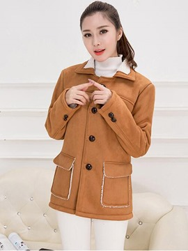 Ericdress Single-Breasted Straight Casual Coat