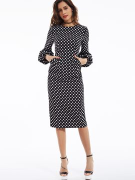 Ericdress Polka Dots Lantern Sleeves Bodycon Dress